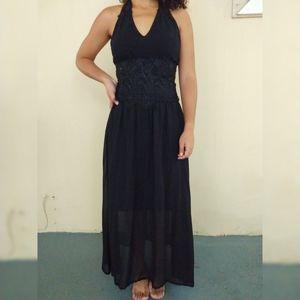 Marineblu black halter long dress with lace